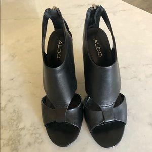 Aldo Black Wedge Open Toe Zipper Heel | 40